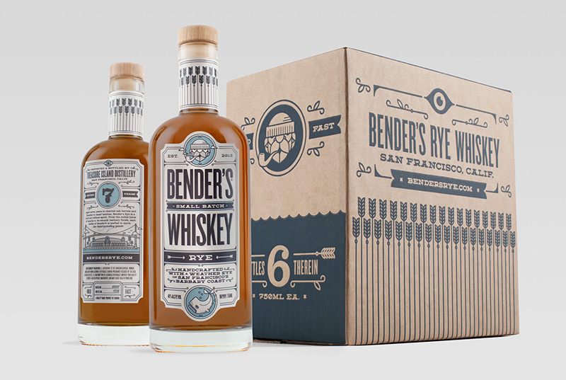 Bender's Rye Whiskey by Okay in Package Design Inspiration for December 2014