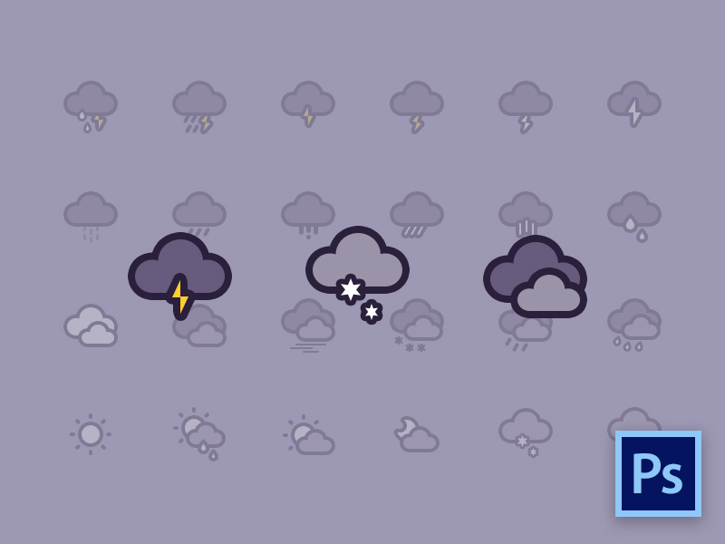 Weather Icons Freebie by Michael Wang in 40个圣诞矢量图标的饕餮大餐下载
