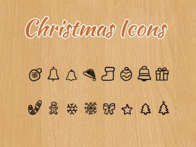 Free Christmas Icons - Hand Drawn by Vladimir Carrer in 40个圣诞矢量图标的饕餮大餐下载