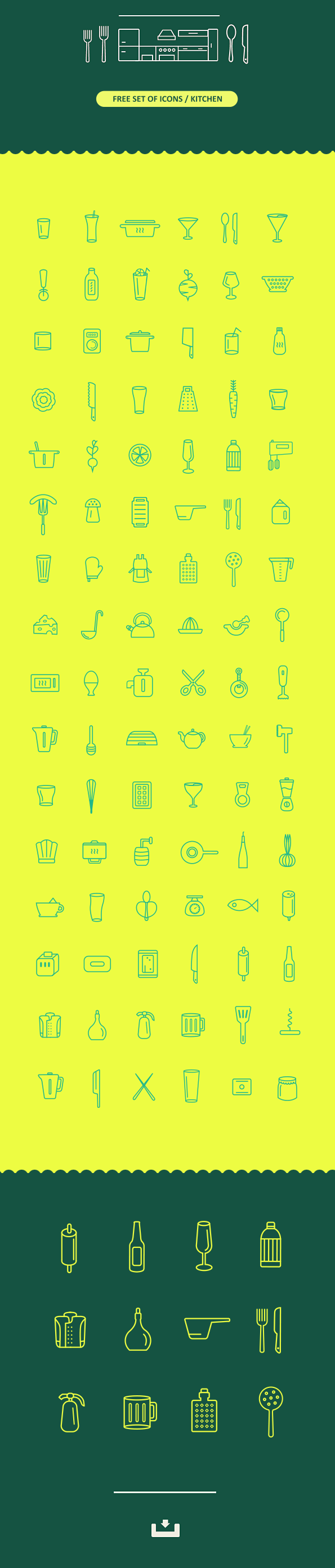 Free set of icons / Kitchen by Belc in 2015年1月的23个免费的扁平化图标合集下载