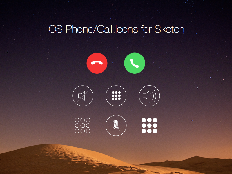 Free iOS Phone/Call Icons for Sketch by Sarah Li 2015年1月的扁平化图标合集下载
