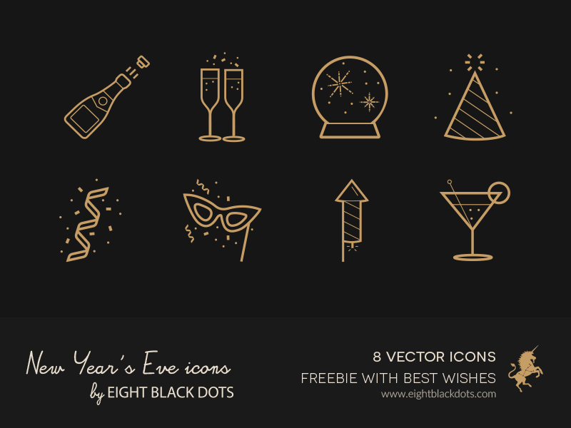 Free Icons for New Year's Eve from Ebdots by Eight Black Dots 2015年1月的扁平化图标合集下载
