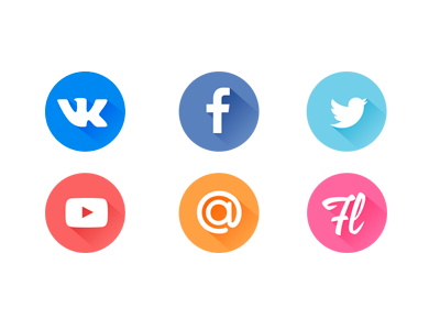 Free download social icons by Oleg Pirogov 2015年1月的扁平化图标合集下载