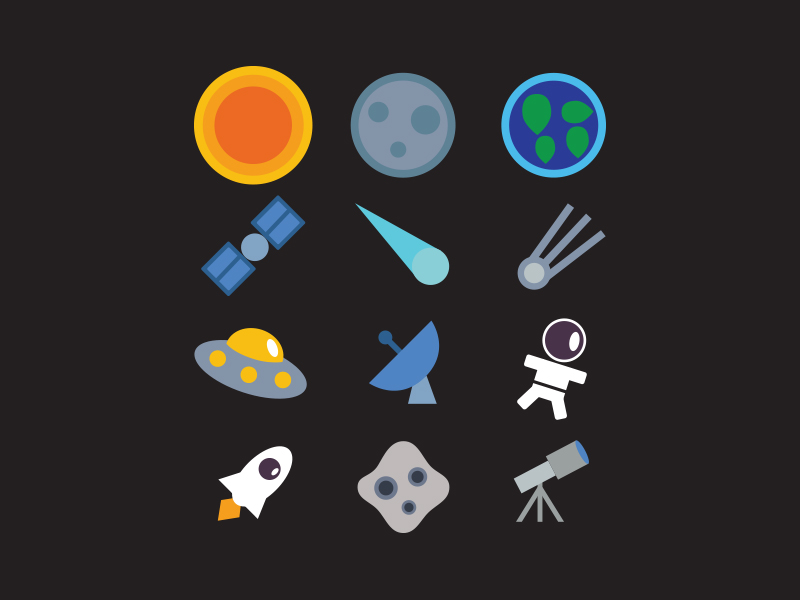 Space Icon Set Free Download by Volodymyr 2015年1月的扁平化图标合集下载