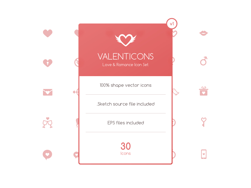 Valenticons Free Love & Romance Icon Set by Ozan Oztaskiran in 2015年1月的23个免费的扁平化图标合集下载