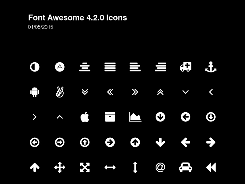 Font Awesome Icons by Greg Shuster 2015年1月的扁平化图标合集下载