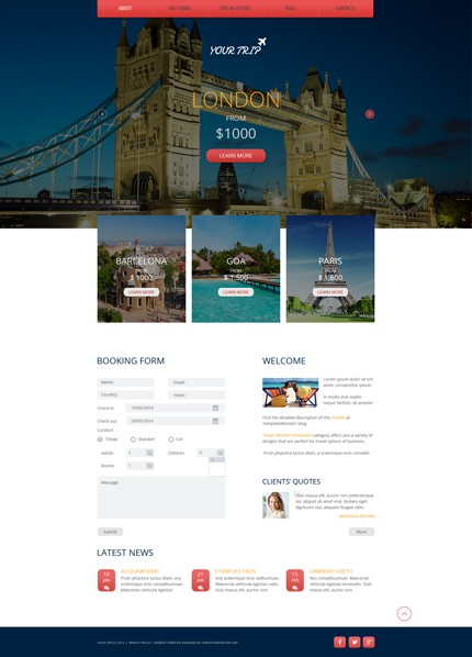 30个惊人的网页设计模版下载Free Responsive HTML5 Theme for Travel Agency