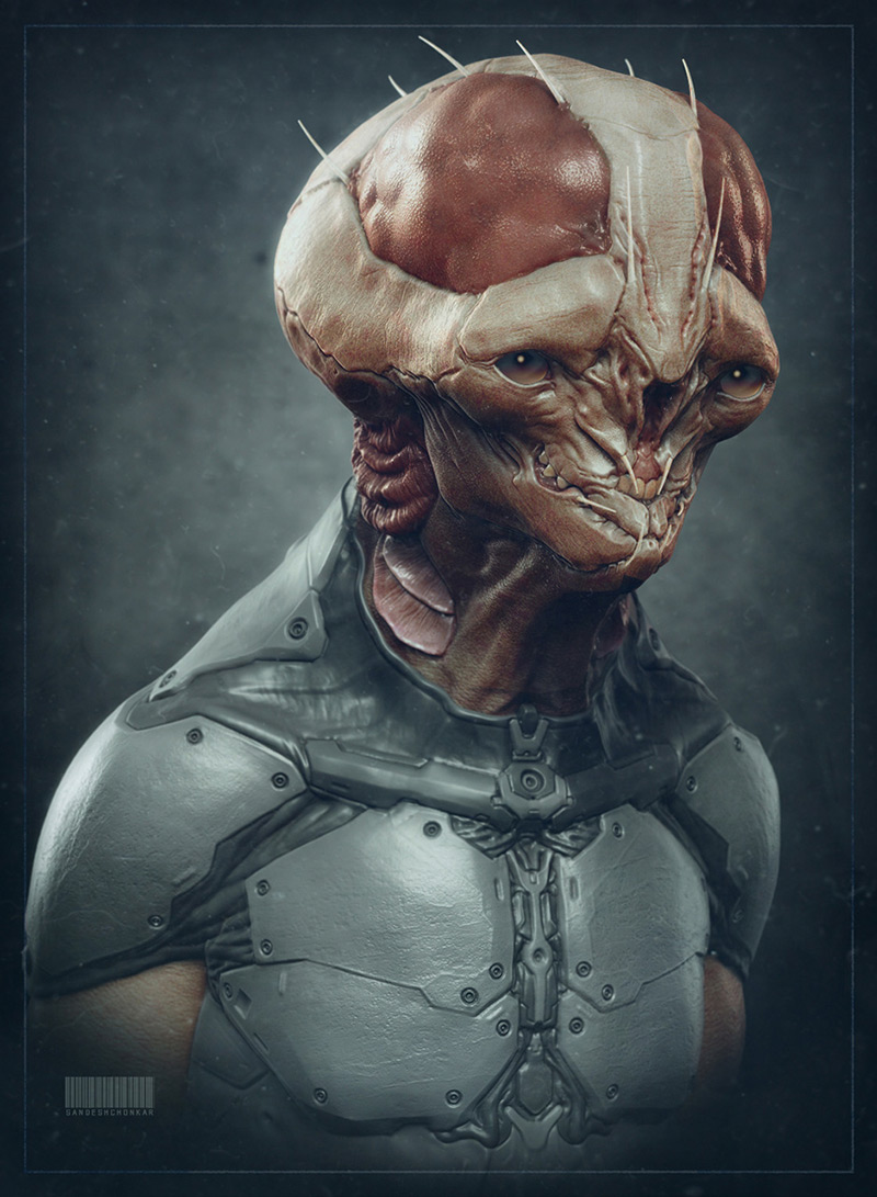 Alien sketch by Sandesh Chonkar in 2015年2月最新最炫的3D角色设定设计效果欣赏