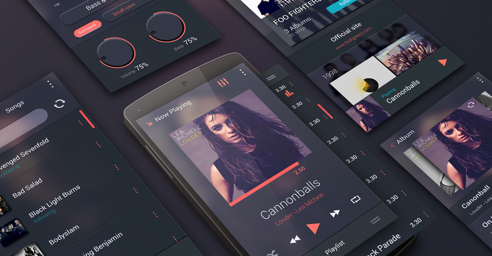 Free Music Player UI Kit for Android by Morphosis in 20个扁平化的UI套装PSD打包下载