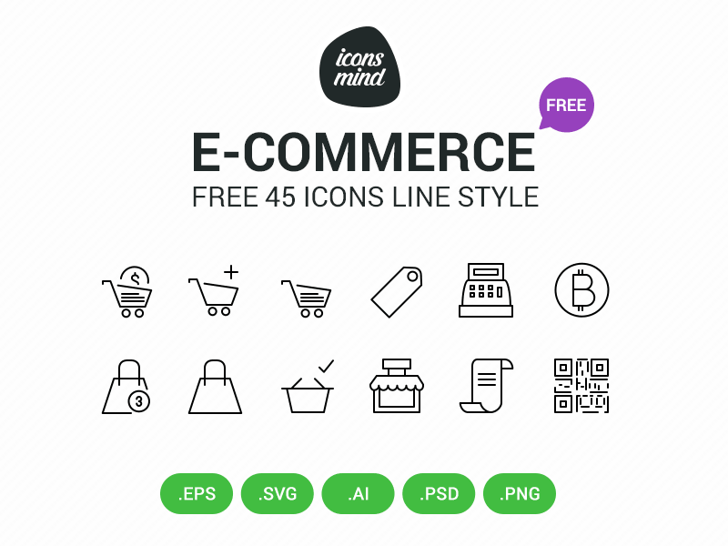 Free E Commerce Icons by Icons Mind in 2015年3月的42套扁平化图标合集下载