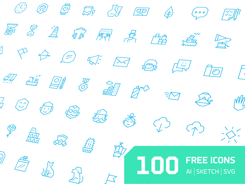 100 Free Angular Icons by Vincent Le Moign in 4月必备的42套新鲜的扁平化UI图标下载