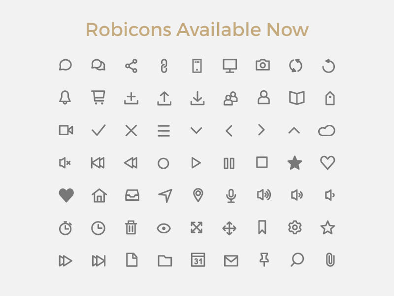 Robicons Font by Rohan Bhangui in 4月必备的42套新鲜的扁平化UI图标下载