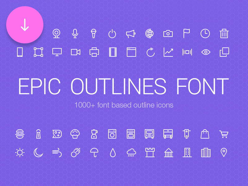 Epic Outlines Font + Freebie by Adrian Goia in 4月必备的42套新鲜的扁平化UI图标下载