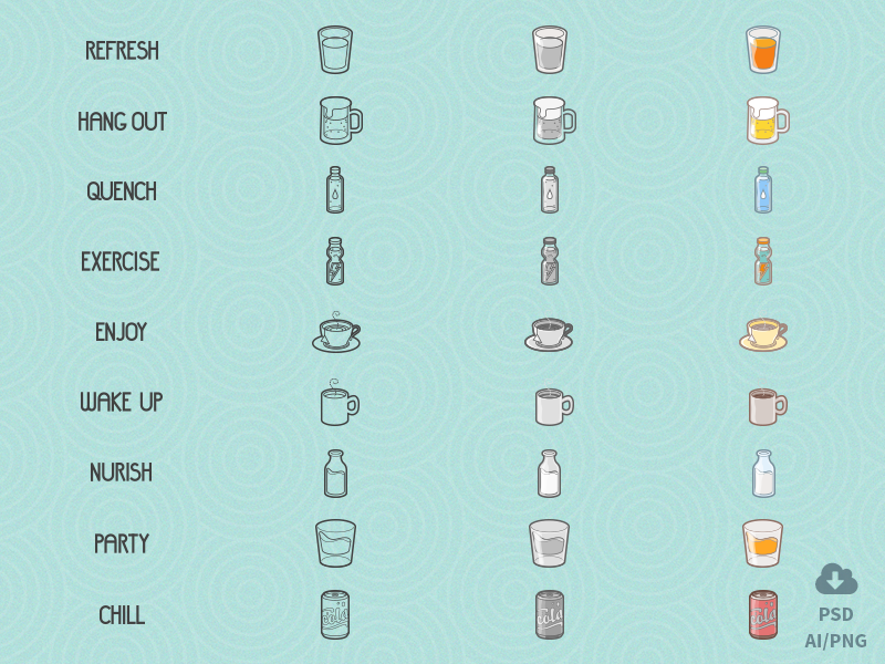 Free Drinks/Lifestyle Icon Set by Oxygenna in 2015年5月出炉的扁平化图标套装下载