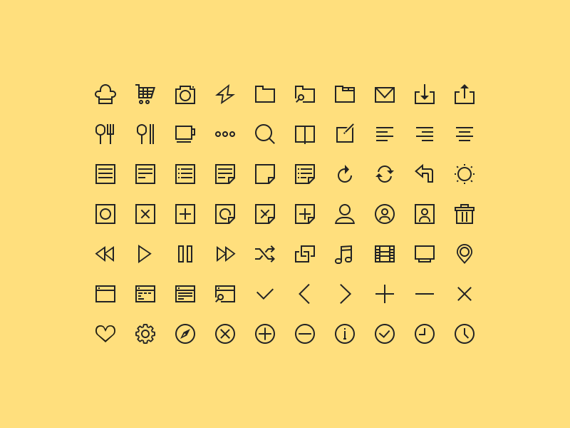70 Simple Icons by Young Kang in 2015年5月出炉的扁平化图标套装下载