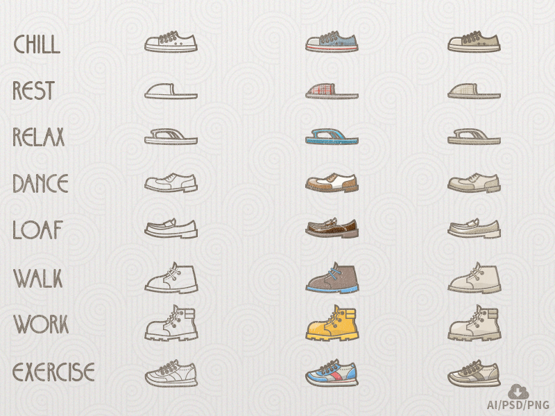 Free Shoes/Lifestyle Icon Set by Oxygenna in 2015年5月出炉的扁平化图标套装下载