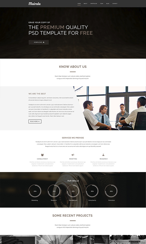 Free-One-Page-Corporate-Agency-PSD-Template-MAIRALA