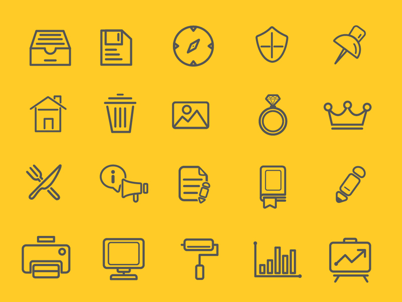 75 Various Outline Icon Set by HevnGrafix Design in 2015年5月出炉的扁平化图标套装下载