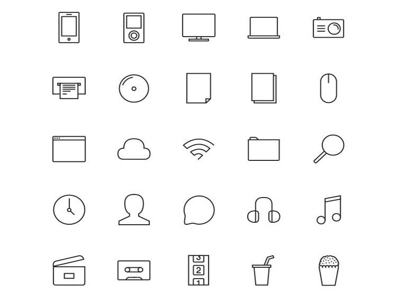 Stripes & Co Line Styled Icon Set by www.PixsHub.com in 2015年5月出炉的扁平化图标套装下载