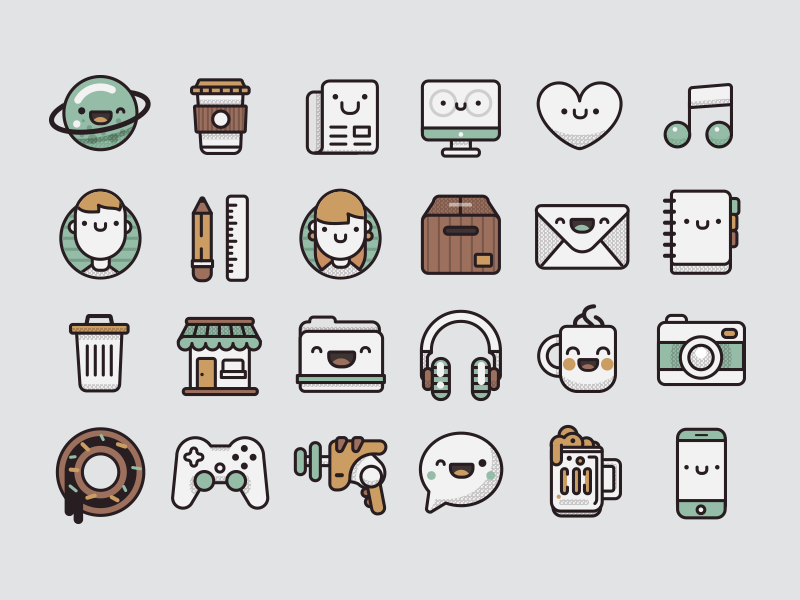 Pamoke: Free Icon Set by Miguel Ángel Avila in 2015年5月出炉的扁平化图标套装下载