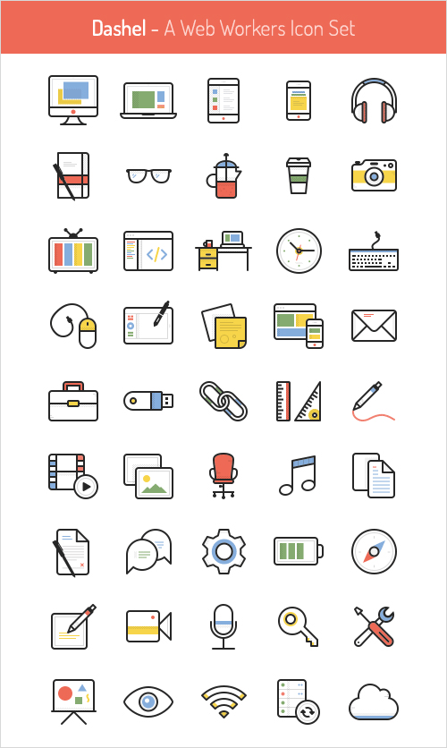 45 Icon Set In Svg, Psd, Png by www.PixsHub.com in 2015年5月出炉的扁平化图标套装下载