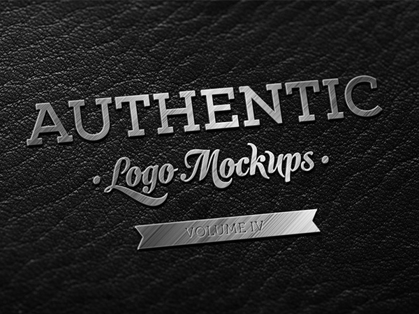 高品质的logo(VI标志)PSD展示模型模版下载(二)PSD-Freebie-Metallic-Finish-on-Dark-Leather-Logo-Mockup