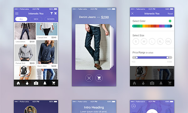 20 高质量的 网页&APP移动端界面UI Kits下载Shopping App UI Screens for iOS