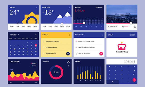 20 高质量的 网页&APP移动端界面UI Kits下载Material Design Widgets UI Kit PSD