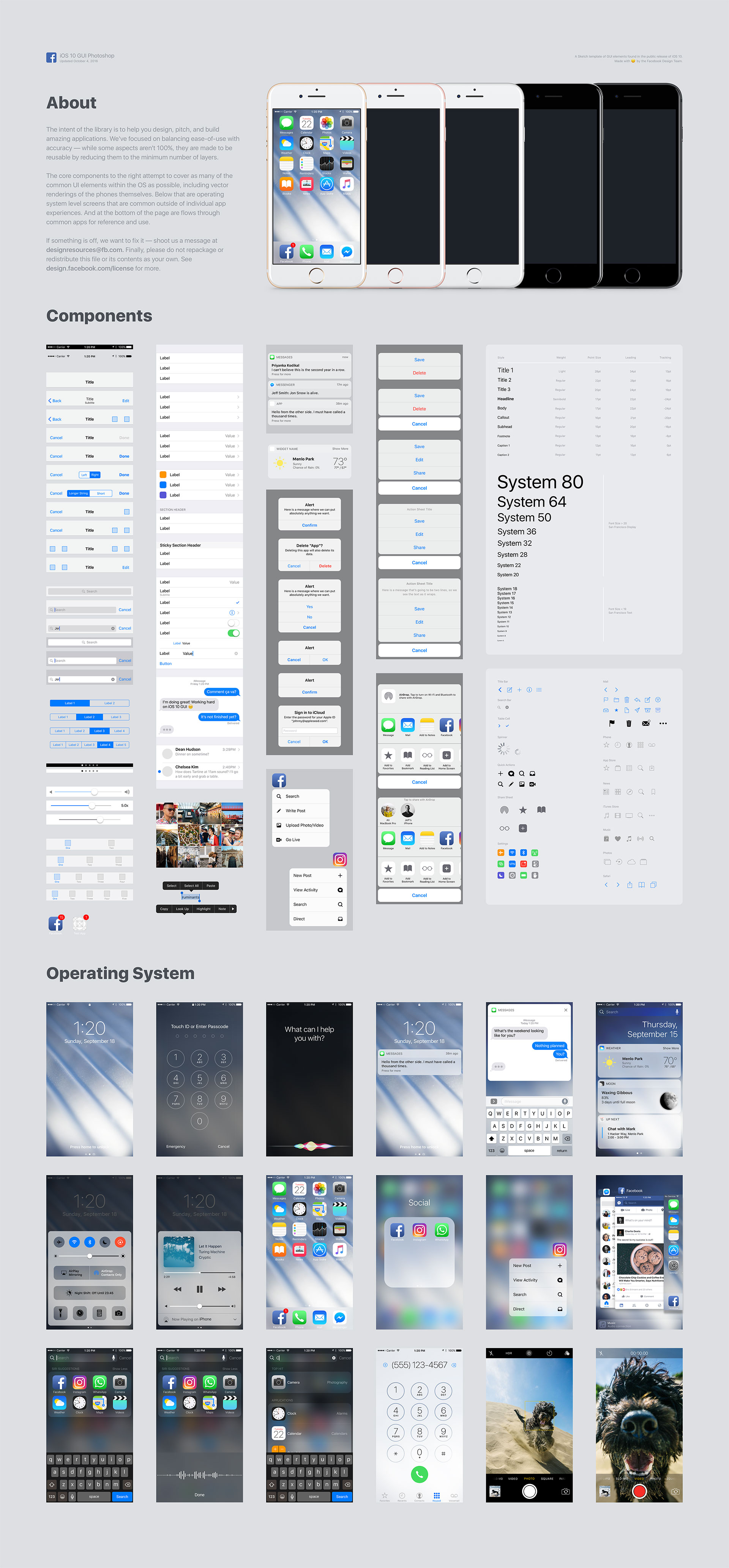 Facebook iOS 10 UI kit套装下载[PSD+Sketch]