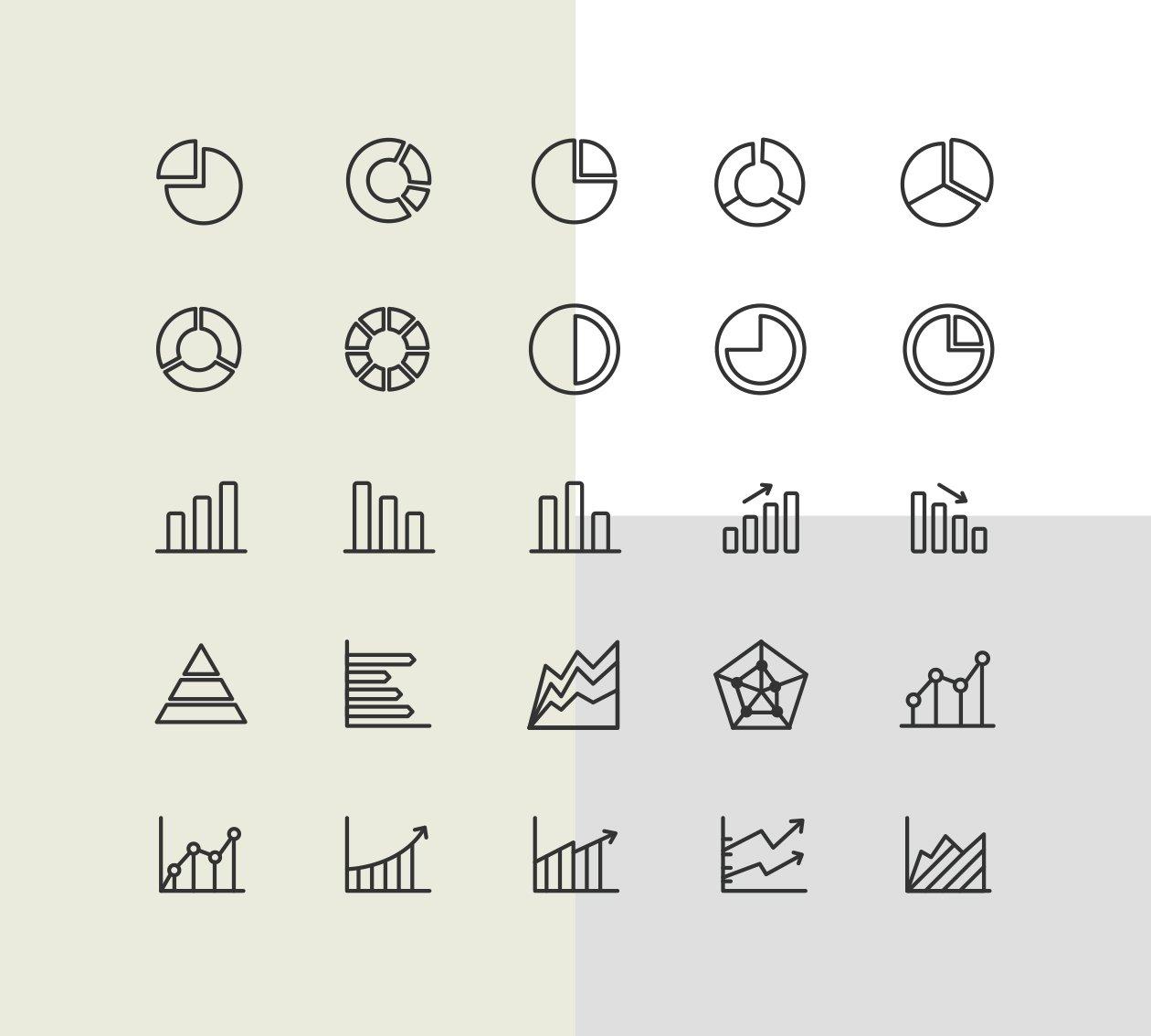 绘制精良的数据统计类图标下载[for Ai]