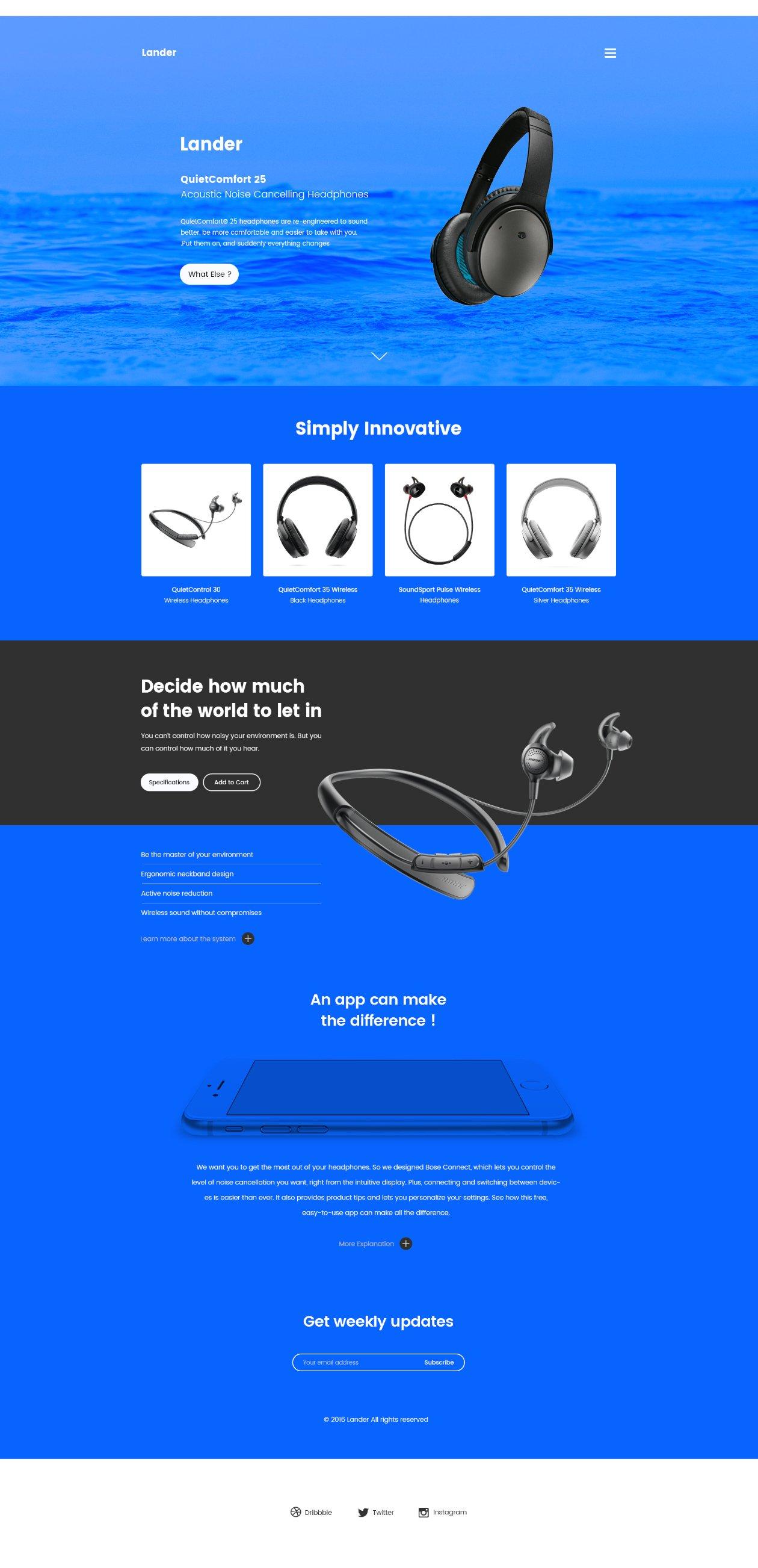 简洁的蓝色数码产品类的着陆页网页模版下载[PSD]