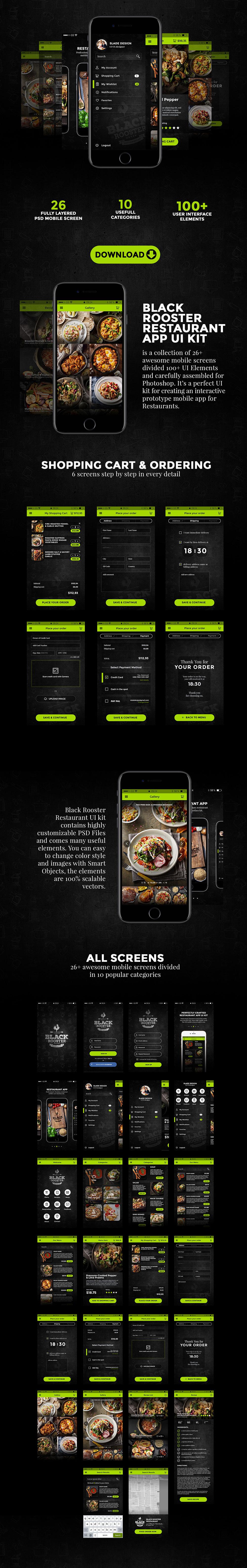 餐饮类的APP UI Kits下载[PSD,For 点餐O2O]