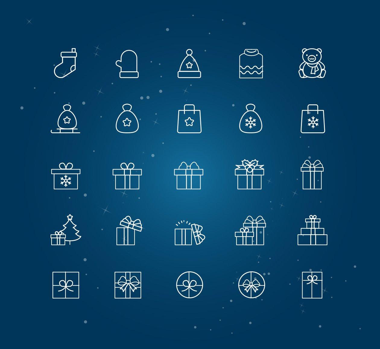 新鲜简洁的圣诞节图标下载[For ai]