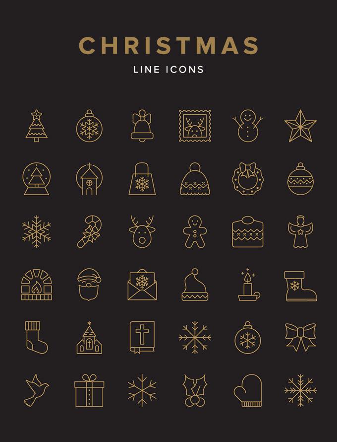 2016-2017全球优质年圣诞节素材推荐合集金色的圣诞节线框图标打包下载[For Ai]