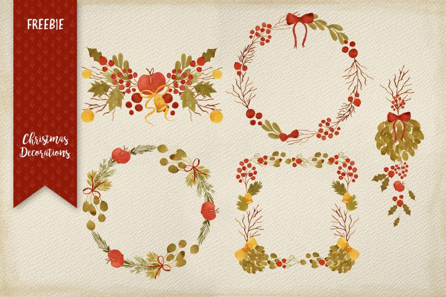 圣诞节氛围素材[圣诞花环+圣诞边框,高清PNG]