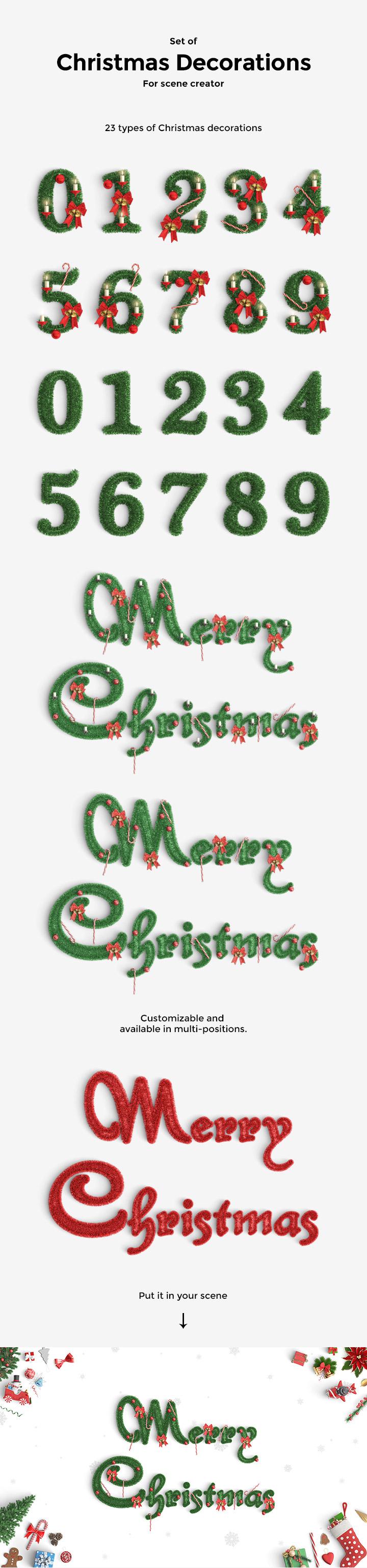 圣诞节必备的数字与字母风格字体下载[PSD]