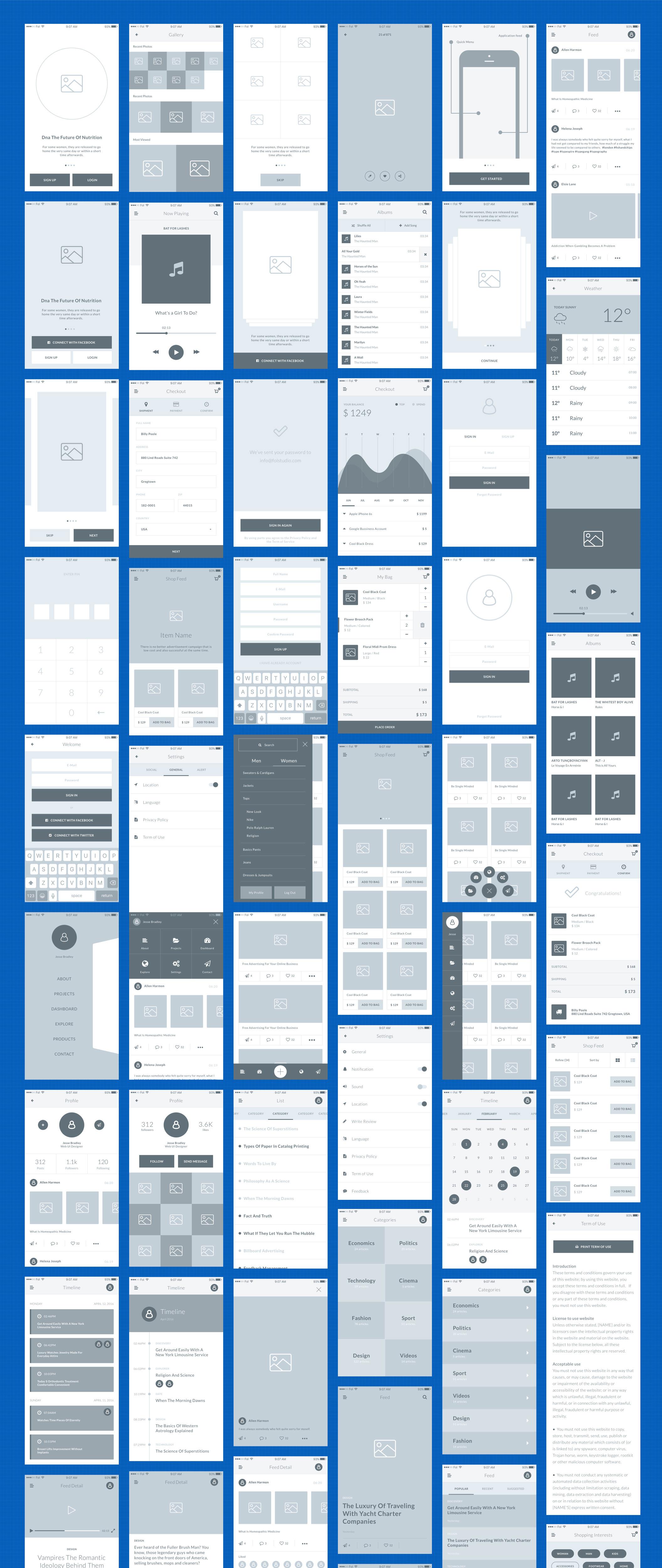 一套完美的APP Ui Kits原型绘制线框图下载[For Ai , Sketch]
