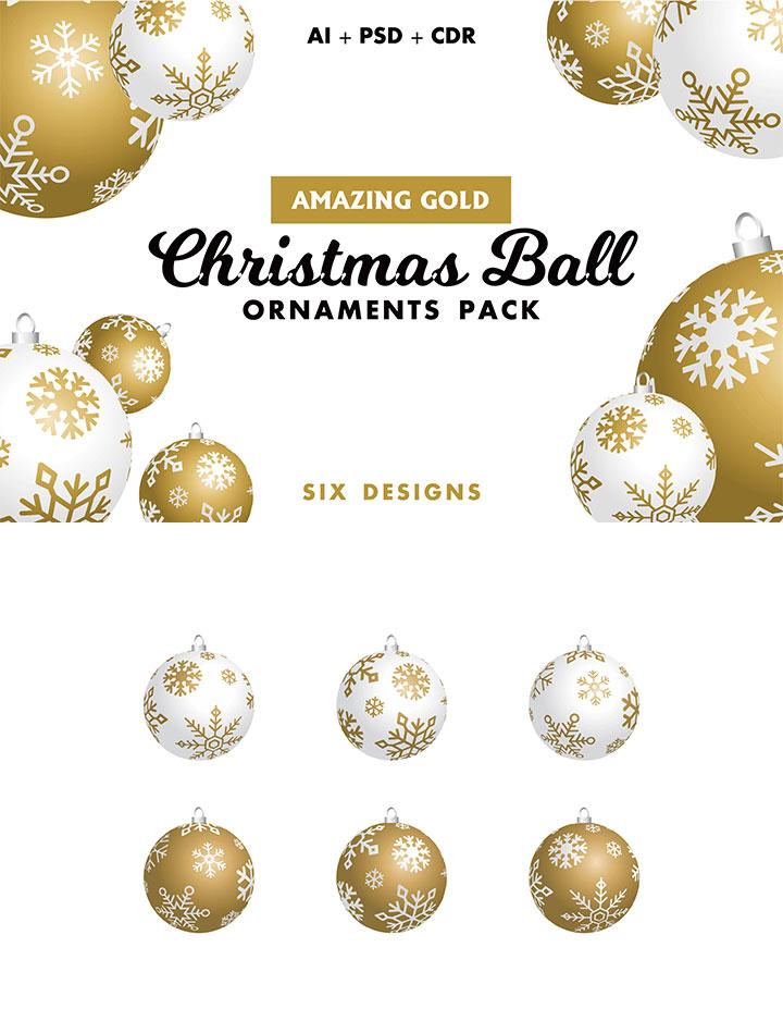 完美的多格式圣诞金球素材打包下载[Ai,PSD,CDR]