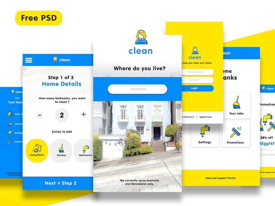 一套鲜艳的家政服务APP UI Kits免费下载[PSD]-yunrui-co