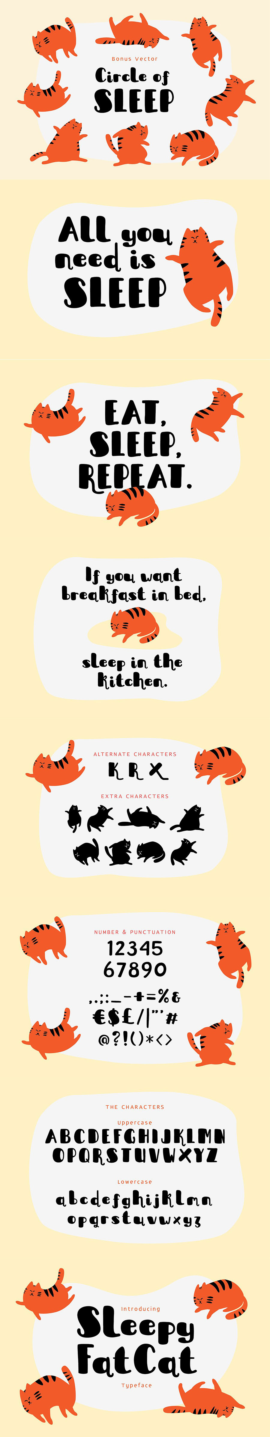 肥猫风格的设计字体与矢量图形打包下载[Ai,ttf,otf]