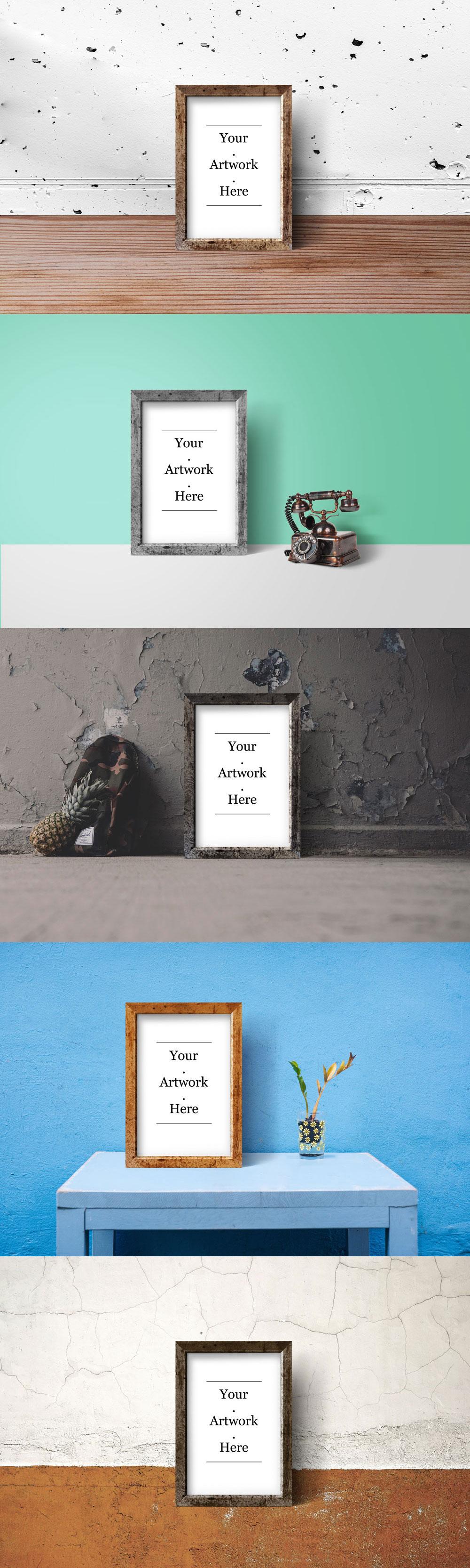 手工木质框架海报&照片展示模型(Mockup)下载[PSD]-yunrui-co