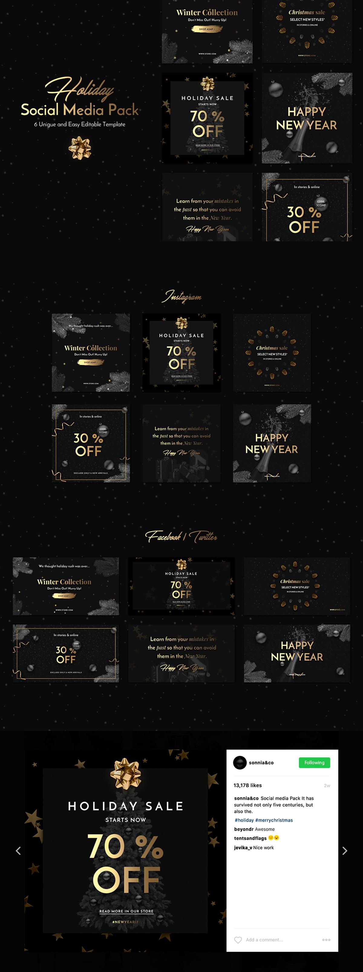 黑金色的高品质圣诞素材打包下载[PSD]