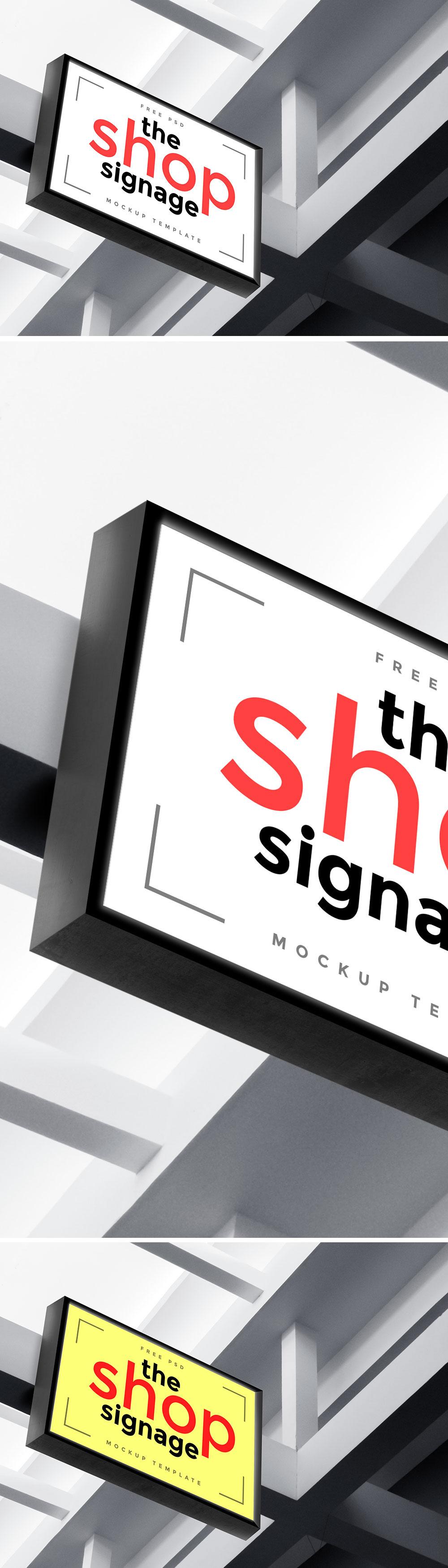 户外、引导标示、门头和店铺招牌设计展示模型(Mockup)PSD下载