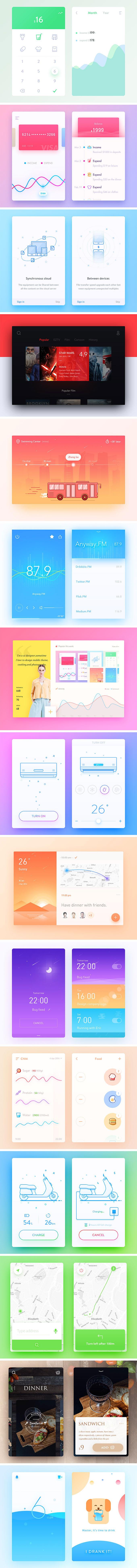 富有灵感的,免费多彩UI Kits套装下载[PSD]