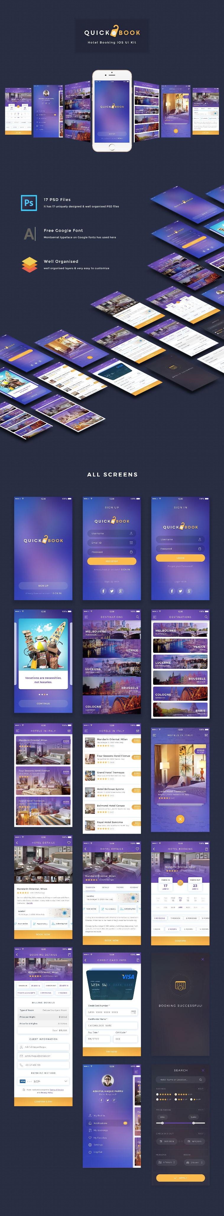 酒店快速预定 iOS UI Kit下载[PSD]