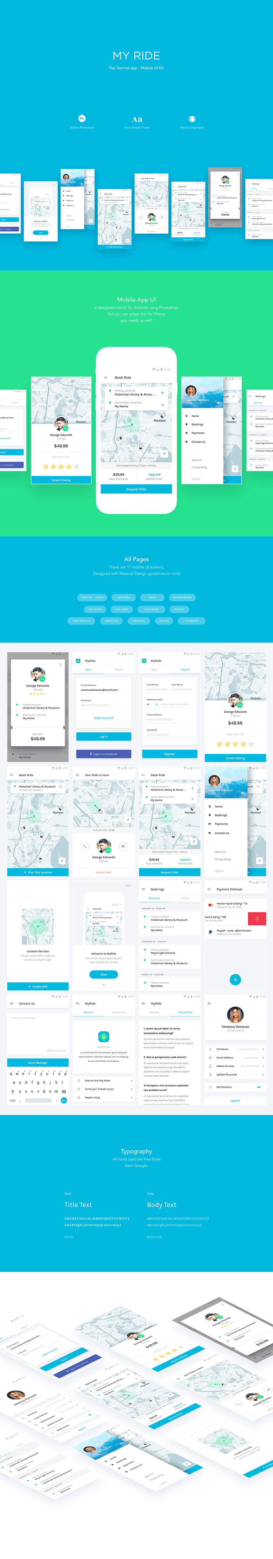 共享租车类APP UI KITS下载[PSD,for Android]