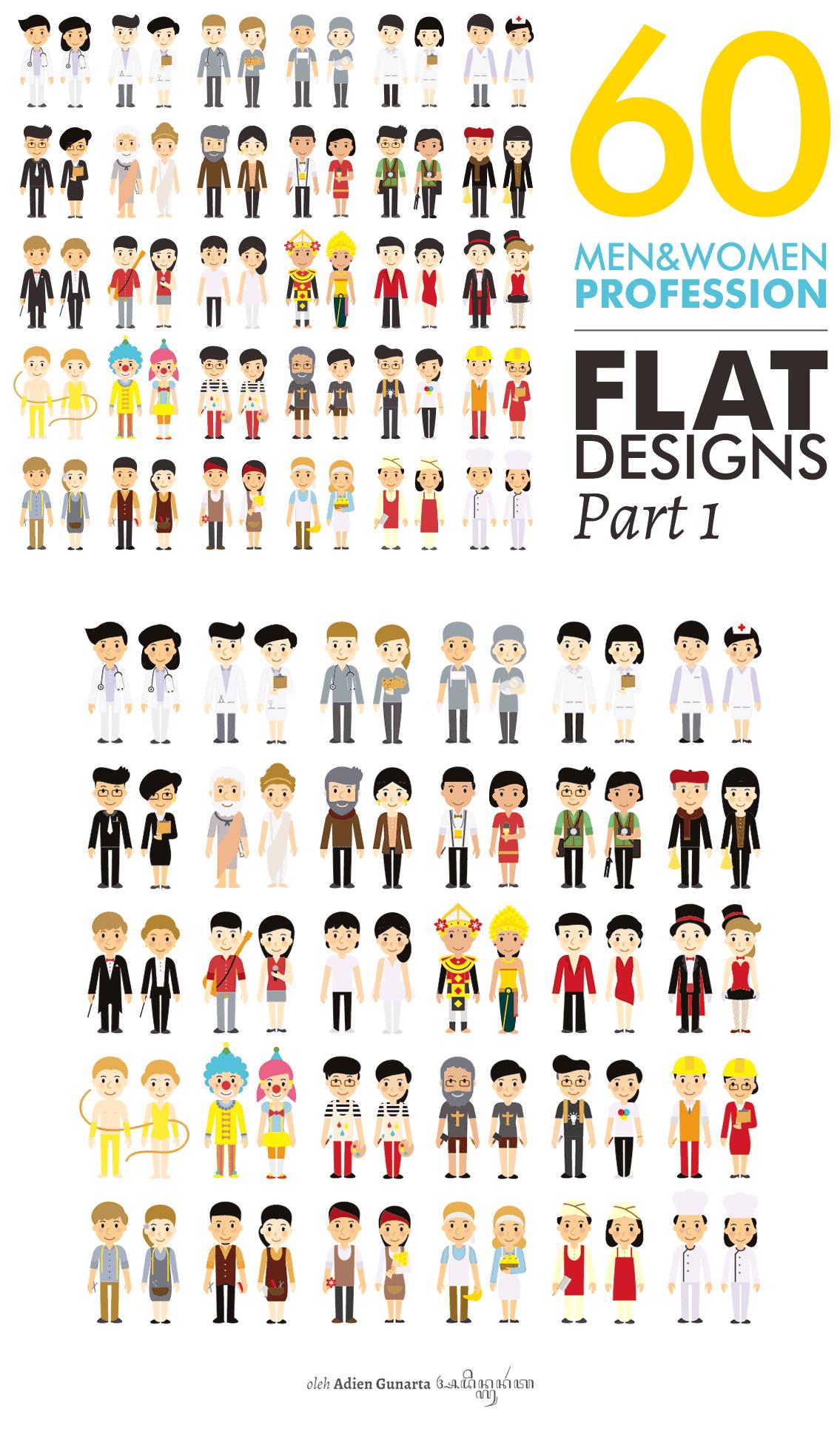 扁平化的各种特色人物卡通设计形象源文件下载[Ai]