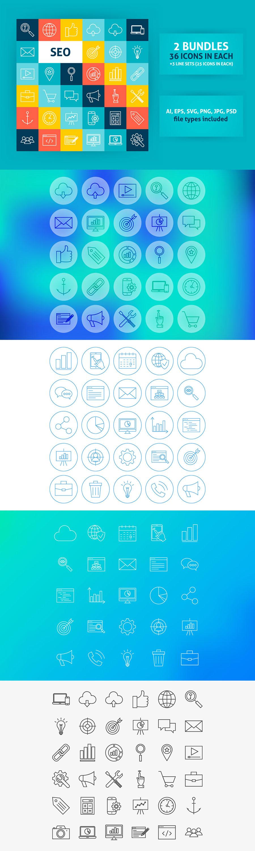 36个SEO相关功能的图标套装下载[Ai]