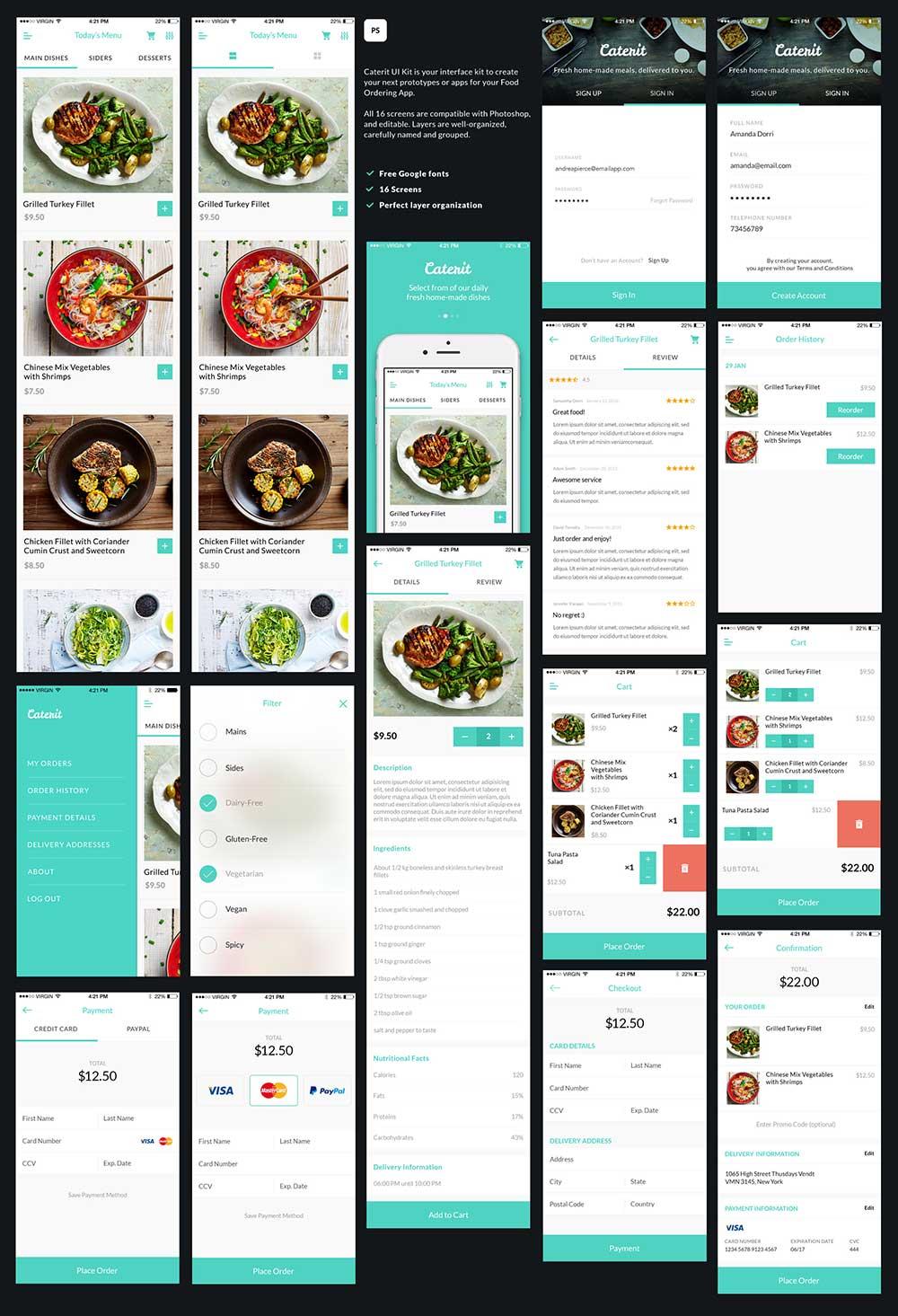 一套漂亮的美食类APP UI Kits打包下载[PSD]