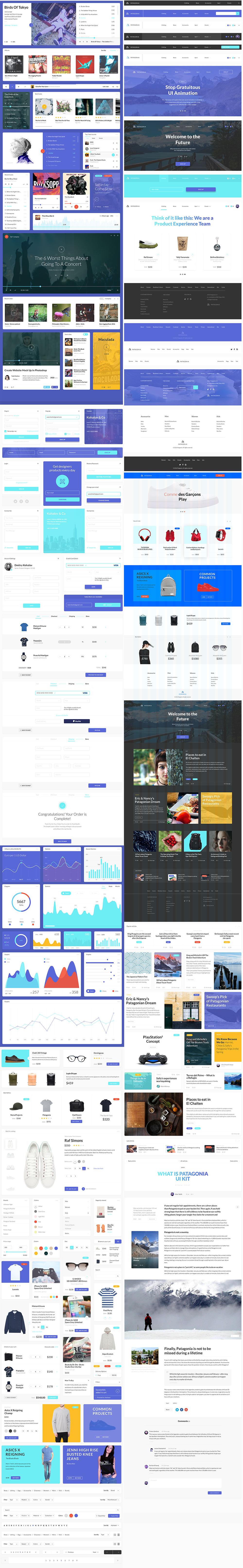 新鲜时尚的企业&电商网站组件模版PSD下载